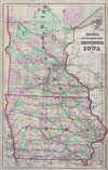 1873 Gray Railroad Map of Minnesota and Iowa , Gray's Atlas New Railroad Map of Minnesota and Iowa 1873.