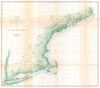 1864 U.S. Coast Survey Map or Trianguation Chart of New England , Sketch A Showing the Primary Triangulation in Section I and the Connection of the Baselines in Sections I andII from 1844 to 1864.