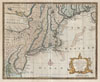 1747 Bowen Map of New Jersey, Pennsylvania, New York and New England , A New and Accurate Map of New Jersey, Pensilvania, New York and New England with the adjacent Countries.