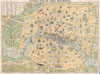 1890 Guilmin Map of Paris, France w/Monuments , Nouveau Plan de Paris Monumental.