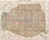 1894 Hachette Pocket Map of Paris, France (shows Eiffel Tower) , Plan de Paris