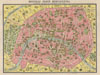 1920 Leconte Pocket Map of Paris, France ( with Eiffel Tower and Metro) , Nouveau Paris Monumental Inineraire Pratique de L'Etranger Dans Paris.