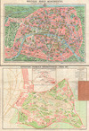 1931 Leconte Map of Paris w/Monuments and Map of the Exposition Coloniale , Nouveau Paris Monumental Itineraire Pratique de L�Etranger Dans Paris.  Exposition Coloniale Internationale Paris 1931.