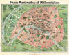 1920 Art Nouveau Monument Map of Paris, France , Paris Monumental et Metropolitain.