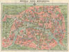 1928 A. Leconte Map of Paris France w/ Monuments , Nouveau Paris Monumental Inineraire Pratique de L'Etranger Dans Paris.