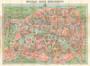 1910 Leconte Monument Map of Paris, France , Nouveau Paris Monumental Inineraire Pratique de L'Etranger Dans Paris.