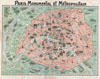 1932 Robelin Map of Paris, France w/Monuments , Paris Monumental et Metropolitain.