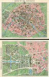 1920s Leconte Map of Paris w/Monuments and Map of Versailles , Paris et ses Monuments.  Versailles et ses Promenades.
