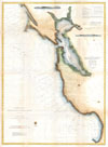 1866 U.S. Coast Survey Chart or Map of San Francisco Bay , Pacific Coast from Point Pinos to Bodega Head California.