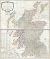 1794 Campbell Map of Scotland , A New and Correct Map of Scotland or North Britain with all the Post and Military Roads, Divisions, and ca.