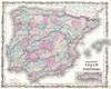 1862 Johnson Map of Spain and Portugal , Johnson's Spain and Portugal.