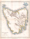 1837 Dower Map of Van Dieman's Land or Tasmania , Van Dieman's Land.