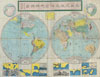 1875 Meiji 8 Japanese Map of the World , World.